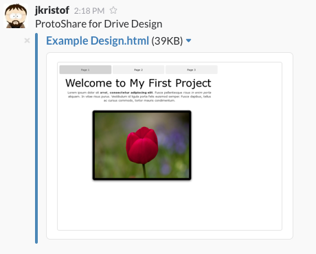 Slack Post Example